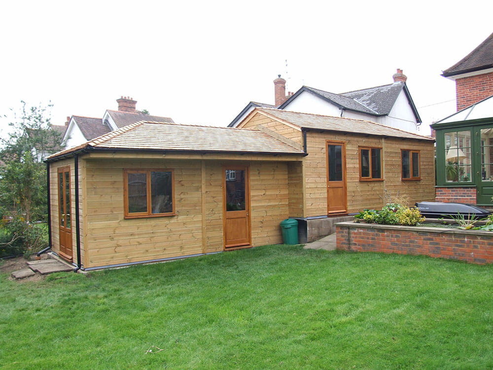 National Timber Stables Home Office Edge cedar roof